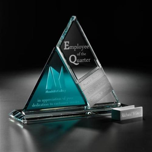 Perpetual Clear & Blue Crystal Triangle Tower Award with Aluminum Accents