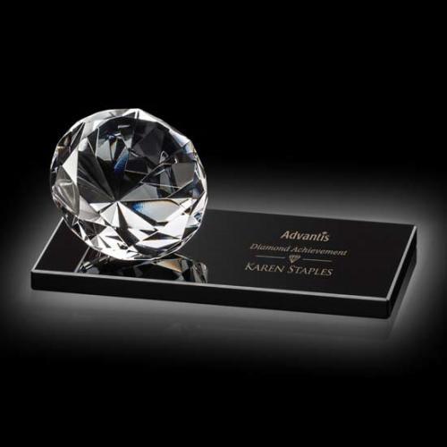 Clear Optical Crystal Diamond Award on Black Base