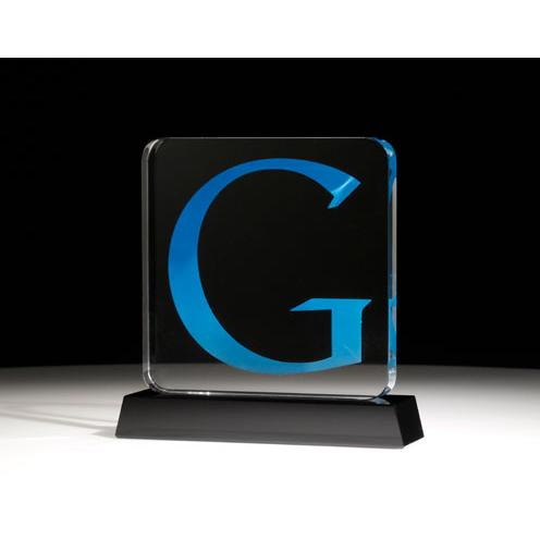 Clear Crystal Google Award on Black Base