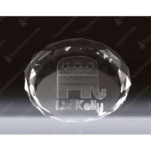 Clear Crystal 3D Oval Desk Award with Beveled Edges