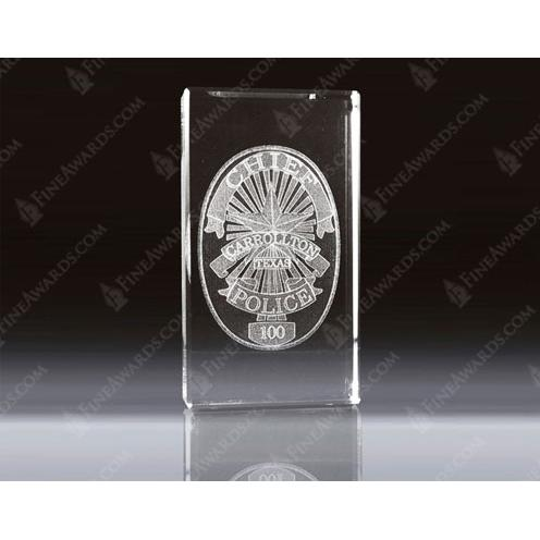 Clear Crystal 3D Vertical Paperweight