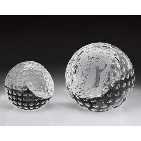 Clear Crystal Golf Ball Paperweight