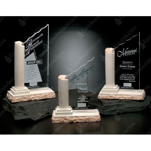 Corinthian Optical Crystal Award with Alabaster Cast Column
