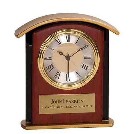 Brown Mahogany Finish Top Clock with Gold Accents
