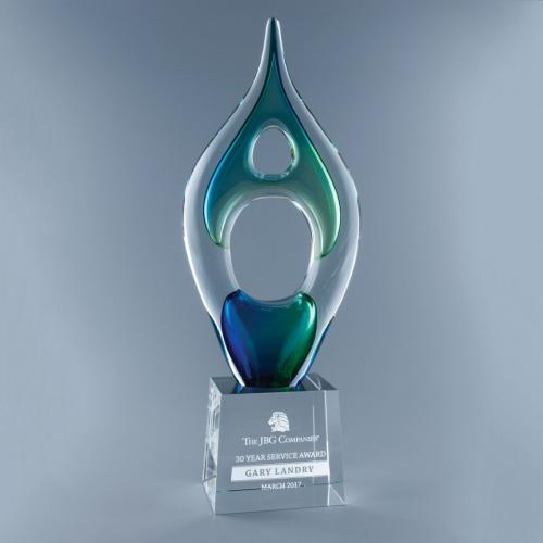 Escape Blue & Green Art Glass Award