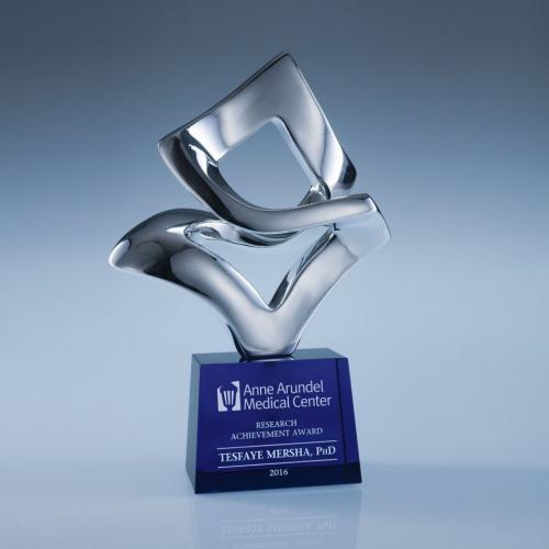 Performer Chrome Sculpture Award with Optical Crystal Base