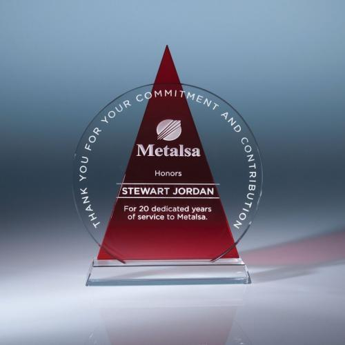 Clear Optical Crystal Circle Award with Red Triangle Icon