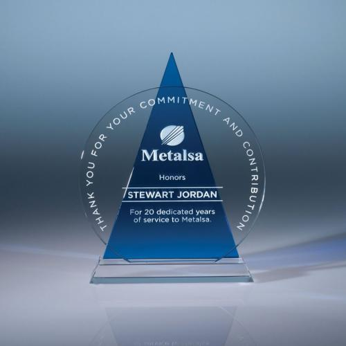 Clear Optical Crystal Circle Award with Blue Triangle Icon