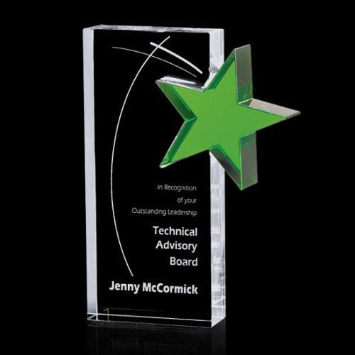 Clear Optical Crystal Sabatini Tower Award with Green Star