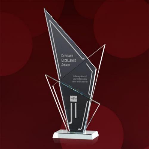 Eastdale Grey & Clear Glass Triangles Award