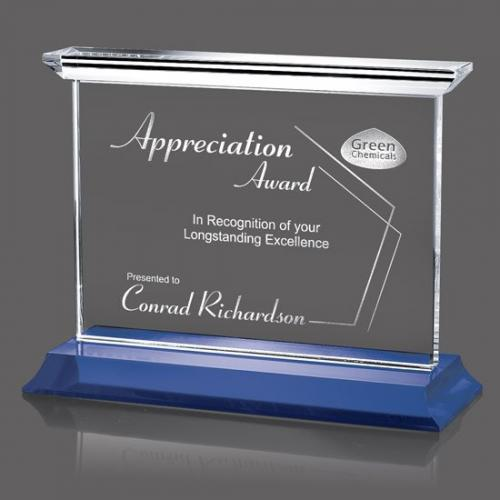 Tobermory Horizontal Optical Crystal Award on Blue Base