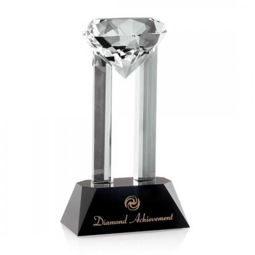 Versailles Optical Crystal Diamond Tower Award with Black Base