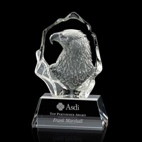Ottavia Optical Crystal Eagle Head Award on Black Base