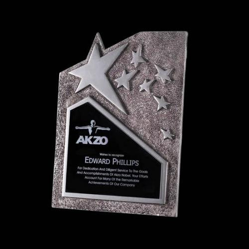 Ruddington Silver Cast Metal Star Plaque