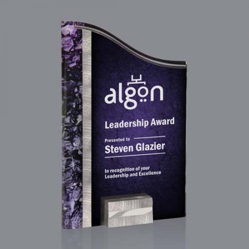 Purple Acrylic Ventura Award with Silver & Aluminum Accents
