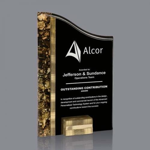 Black Acrylic Ventura Award with Gold & Aluminum Accents