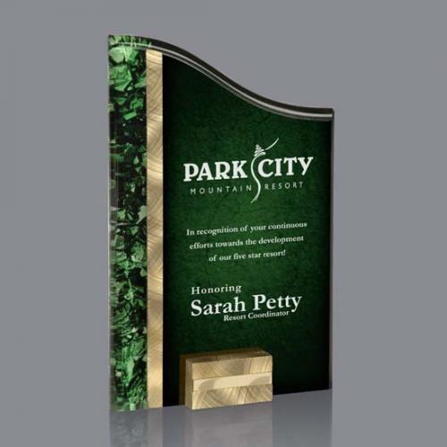 Green Acrylic Ventura Award with Gold & Aluminum Accents