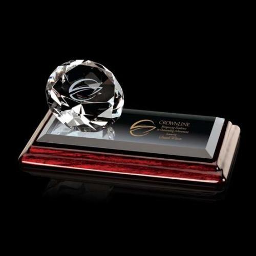 Clear Optical Crystal Diamond Award on Albion Base