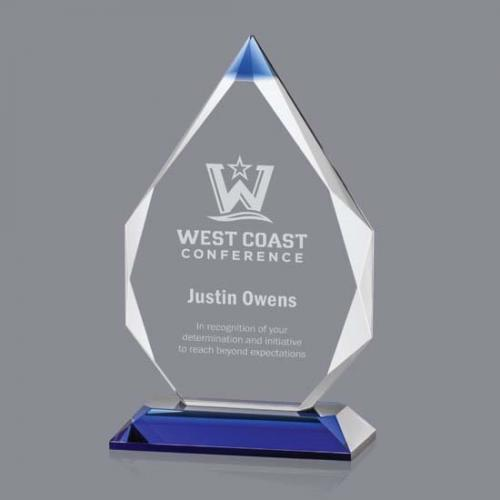 Granville Optical Crystal Award with Blue Accent