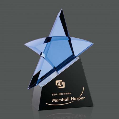 Blue Optical Crystal Benita Star Award on Black Base