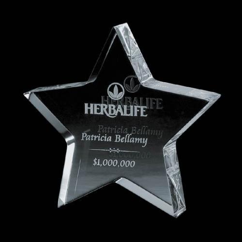Clear Optical Crystal Standing Star Award