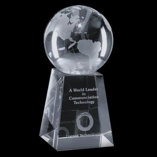 Optical Crystal Globe Award on Tall Base