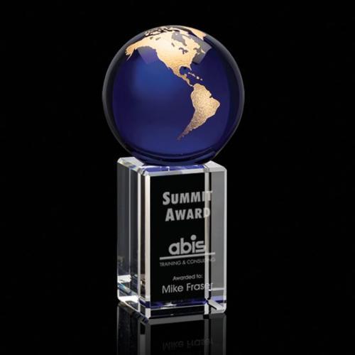 Blue & Gold Optical Crystal Luz Globe Award