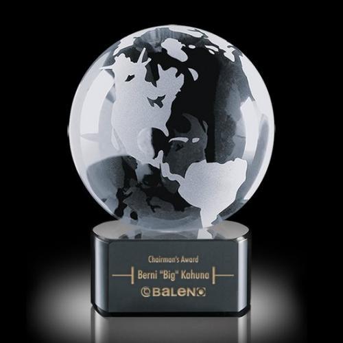 Optical Crystal Globe Award on Black Paragon
