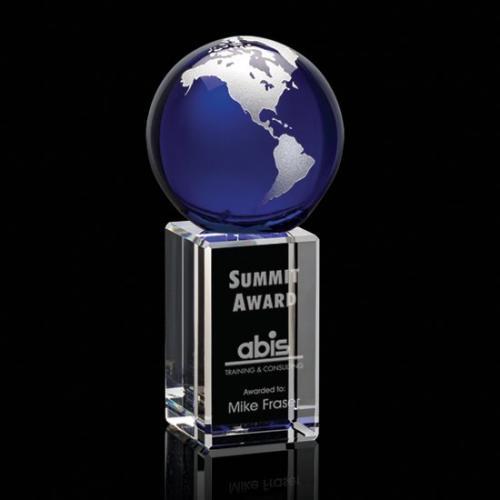 Blue & Silver Optical Crystal Luz Globe Award