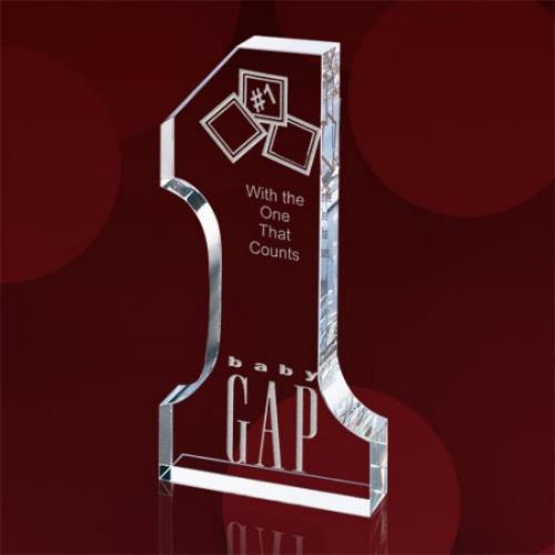 Clear Optical Crystal Number 1 Shaped Award