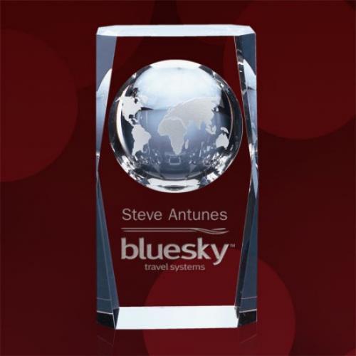 Drake Optical Crystal Block Award with Inset Globe