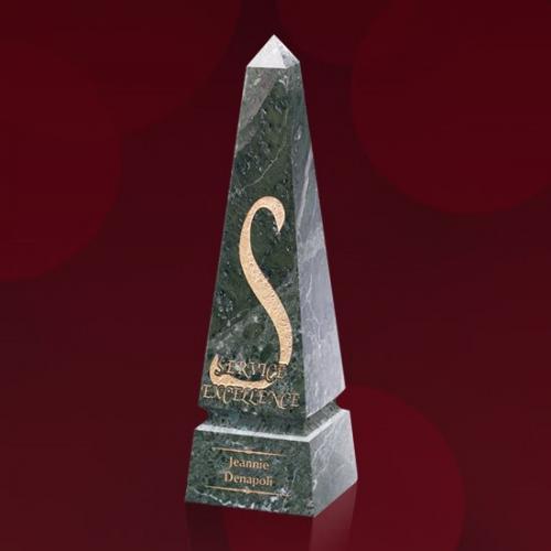 Green Marble Groove Obelisk Award