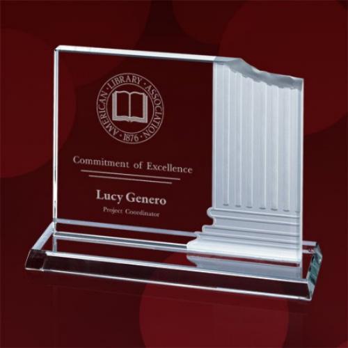Jade Glass Carved Pillar Award