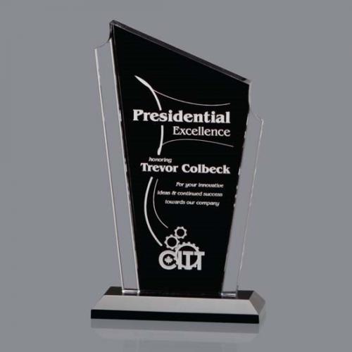Black Acrylic Dunstable Award with Clear Edges