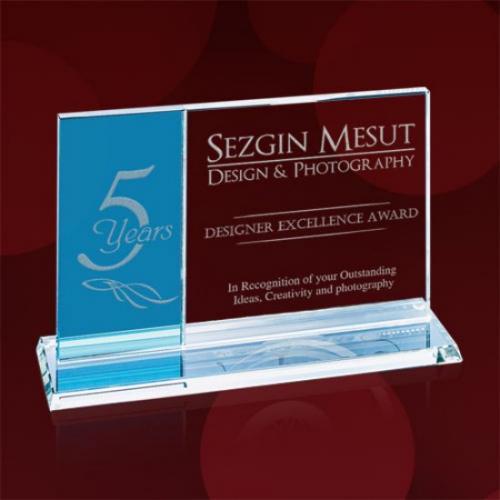 Teal & Clear Starfire Horizontal Composite Award
