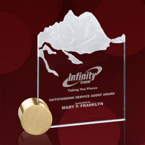 Hillstone Starfire Glass Rectangle Award with Gold Circle Base