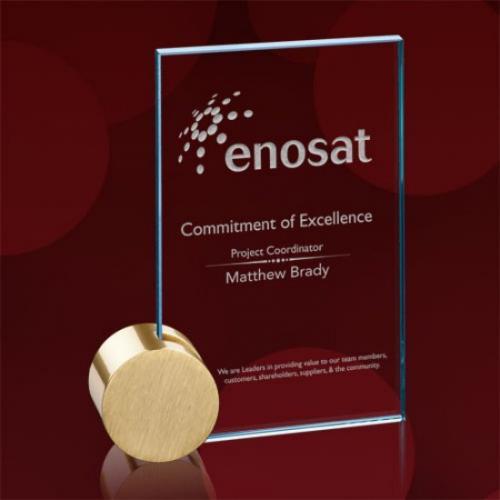 Bermuda Jade Glass Rectangle Award with Gold Circle Base