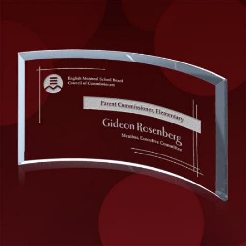 Clear Starfire Glass Crescent Rectangle Award