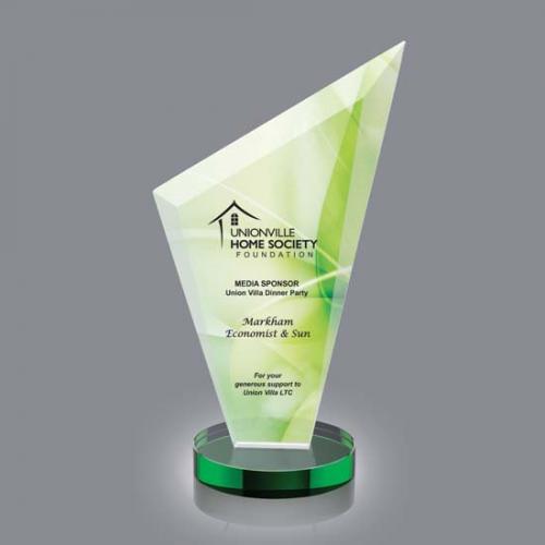 Condor VividPrint Crystal Triangle Award on Green Base
