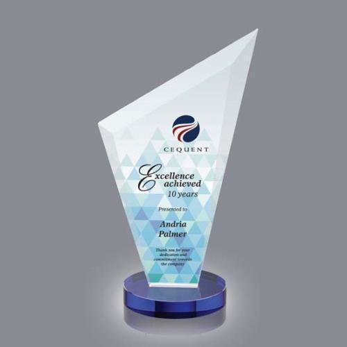 Condor VividPrint Crystal Triangle Award on Blue Base