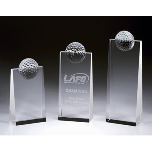 Crystal Golf Tower Plaque with Crystal Golf Ball