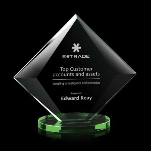 Teston Starfire Crystal Diamond Award with Green Base