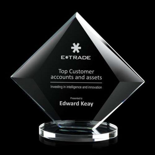 Teston Starfire Crystal Diamond Award with Clear Base