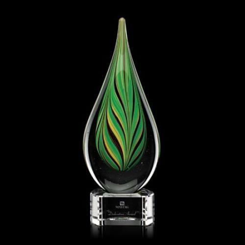 Aquilon Art Glass Teardrop Award on Crystal Base