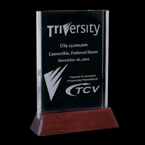 Walkerton Starfire Vertical Award with Rosewood Base