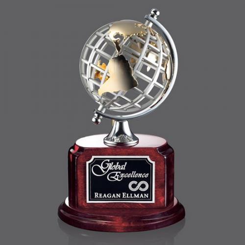 Woodstock Metal Spinning Globe Award on Rosewood Base