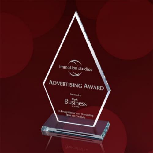 Clear Starfire Glass Arrowhead Award