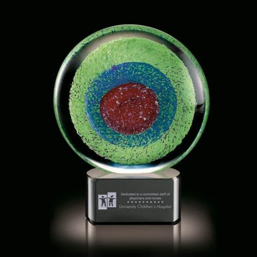 On Target Multi Color Art Glass Sphere Award on Black Optical Crystal Base