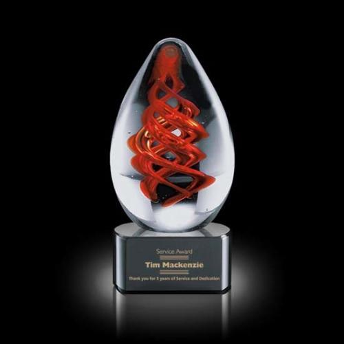 Helix Art Glass Egg Award on Black Optical Base
