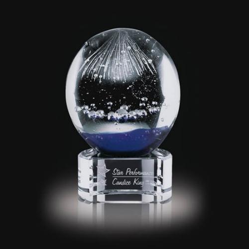 Starburst Art Glass Sphere Award on Clear Optical Crystal Base